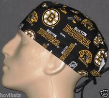 BOSTON BRUINS BLACK LOGOS ALL OVER SCRUB HAT / RARE / FREE CUSTOM SIZING