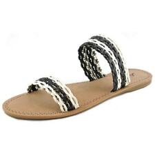 Sandalias con tiras de mujer planos de color principal negro