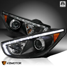 For 2010-2013 Tucson Black Projector Headlights+R8 Daytime Running Lamp