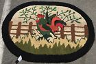 """AN AWESOM PRIMITIVE HAND WOVEN AMERICAN HOOKED RUG 3'6"""" X 4'7"""""""
