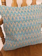 ❤ Zig Zag Cojín Cubierta Turquesa Rags & Algodón Natural 45 X 45cm Llano Cremallera en la espalda