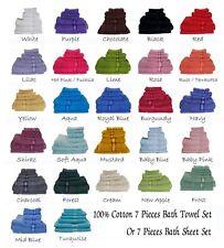 7 Pieces 100% Cotton Extra Large Bath Towel Set 30 Colors Choice