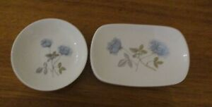 """TWO WEDGEWOOD """" ICE ROSE"""" PIN DISHES"""