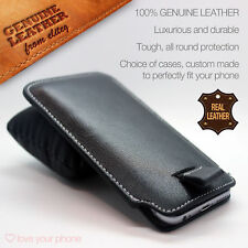 Genuine Leather Excellent Protection Slide Slim Pull Tab Pouch Phone Case✔Black