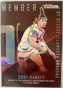 CODY RAMSEY DRAGONS 2021 TLA TRADERS SEASON TO REMEMBER NRL SIGNED CARD