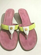 Eric Javits womens 9M sandal lime green/white leather/pink suede w/ EJ emblem
