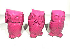 Set of 3 - Wise Owls  - PINK