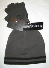 Nike Hat and Gloves Reversible Boy's Youth 8-20 Gray/Black Anthracite New NWT