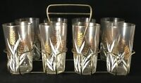 8 Vintage Retro Gold Wheat with White Leaves Pattern Glasses and Carrier