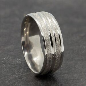 8mm Stainless Steel Silver Sparkle Ring Men Women Line Wedding Band Sizes M to Y