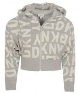 DKNY GIRLS Gray All Over Logo Print Crop Zip Hoodie Size 12 NWT