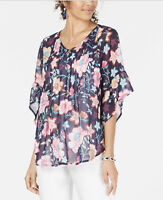 Style & Co. Womens Blouse Pintuck V-Neck 3/4 Flutter Sleeve Summer Floral XS New