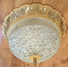 Vintage Mid Century Ceiling Light Large Glass Dome Gilt Border & Finial