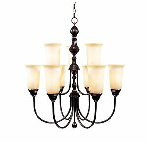 Savoy House 1-1702-9-13 Chandelier, Cream Glass Shades, English Bronze