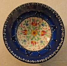 Turkish Dunya Gini handmade w/ hand painted Floral Design Ceramic bowl Awesome