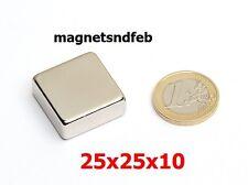 Blockmagnet Neodym-Magnete 25x25x10 Quader