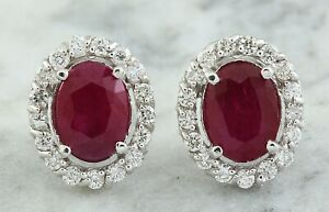 3.55 Carat Natural Ruby 14K Solid White Gold Diamond Earrings