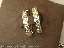 Solid 14k Yellow Gold Hoop Dangle 1/2ct Round Cz Cubic Zarconia Hoops Earrings