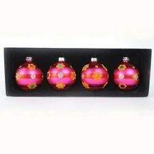 PINK retro GLASS BALL Christmas Ornaments Glittered Flowers & Dots Spring Easter