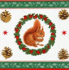 2 Serviettes papier Ecureuil Couronne Paper Napkins Squirrel is busy