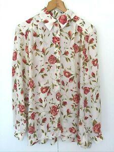 Liz Davenport Floral Long Sleeve Blouse Top One Size Vintage Button Down