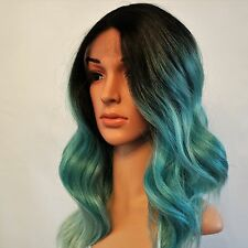 Synthetic Wavy Lace Front Heat Resistant Wig Dark Roots/Aquamarine Ombre 18""