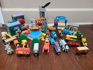 THOMAS WOODEN RAILWAY TRAIN Lot with Engines, Tenders Cranky and Track Add-Ons