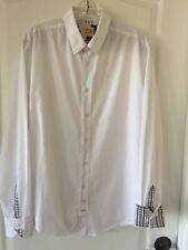 Hugo Boss Orange Mens Long Sleeve Button Down White shirt Color Trim Size L