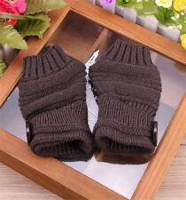 Women Arm Wrist Hand Warmer Knit Long Fingerless Gloves Button Mittens