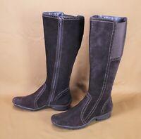 16S Jana Damen Stiefel Boots Velours Leder Gr. 36,5 (4G) braun flach Reiterlook