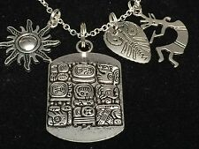 Tribal Aztec Tablet, Sun, Flute Player Charm Tibetan Silver Necklace 18""