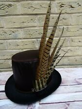 Unique GENUINE LEATHER Red Oxblood Steampunk Top Hat Pheasant Feathers  (SA)