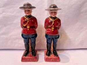"""Vintage Ceramic Royal Canadian Mounted Police Salt & Pepper Shakers  4"""" Tall"""