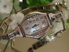 1920's Ladies Art Deco 14K Elgin Watch~Sapphire Filligree Band ~ Runs