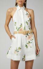 Zimmermann Kirra Belted Floral-Print Linen Playsuit Size 2 US 6-8