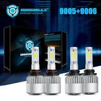 Combo 9005 + 9006 COB LED Headlight Bulbs Kits HI-LO Beam 4000W 600000LM 6000K
