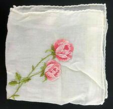 Vintage Cotton Handkerchief Hankie Hanky VTG Pink Embroidered Roses Pink Cottage