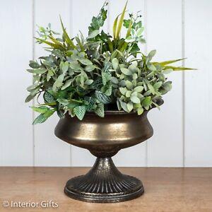 Metal Vintage Urn Antique Silver Planter Plant Pot Wedding Table centrepiece