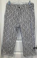 SOFT SURROUNDINGS Geometrique Crop Pants Black Ivory Cotton Stretch Sz 8 EUC