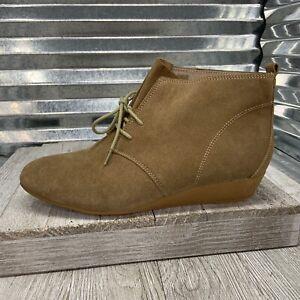 Nine West Desert Bootie Wedge Suede Leather Desert Shoe Size 9