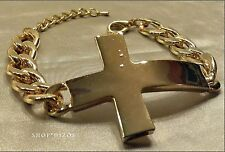 GOLD THICK CHUNKY CHAIN LINK LARGE CROSS CHARM CLASP BRACELET NEW