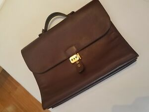 AUTHENTIC HERMES SAC A DEPECHE LEATHER HANDBAG BRIEFCASE - BROWN