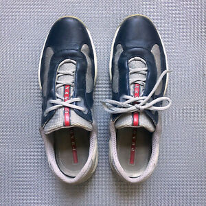 PRADA Americas Cup PS 0906 Sneakers Trainers Blue Leather Mesh sz 42 US 9.5