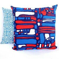 "Pair Brutalist Barkcloth 16x16"" Throw Pillows from Vtg MCM Fabric Red White Blue"