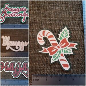 Christmas printed die cut with layer of  glitter accents multiple designs avail