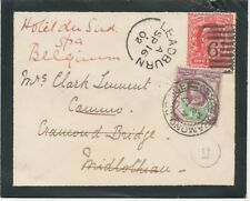 GB 1902 UNIQUE MIXED RE-DIRECTED POSTAGE QV/EVII LEADBURN - CRAMOND BRIDGE - SPA