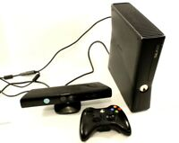 Xbox 360 S 4GB Black Console w/one controller and Kinect motion Sensor (TESTED)