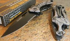 TAC-FORCE Spring Assisted Opening FALL CAMO Bottle Opener Glass Breaker Knife