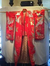 Vintage Japanese Kimono Uchikake Hand Embroidered Painted  Robe Flowers Cranes