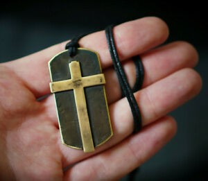 DISTRESSED SOLID ANTIQUE BRASS CRUCIFIX CROSS DOG TAGS PENDANT TAG & NECKLACE